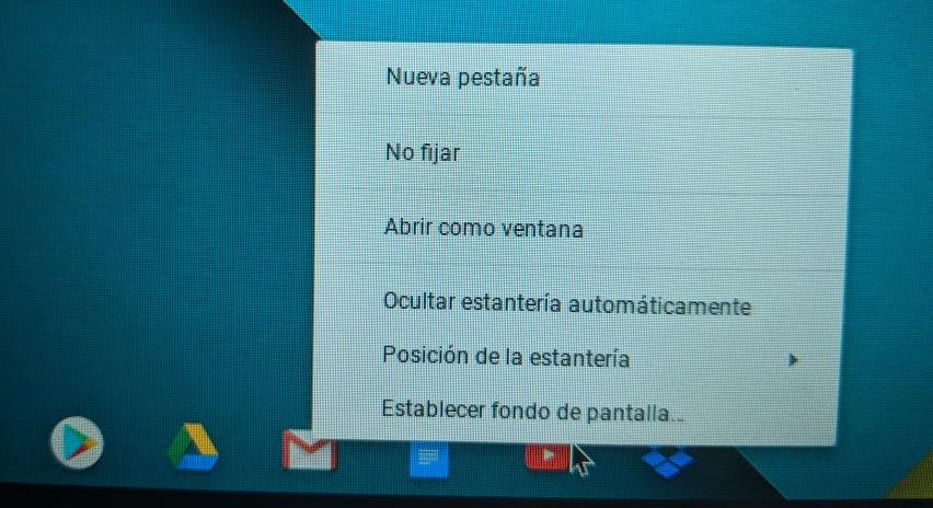 Quitar accesos directos de Chromebook o iconos del dock